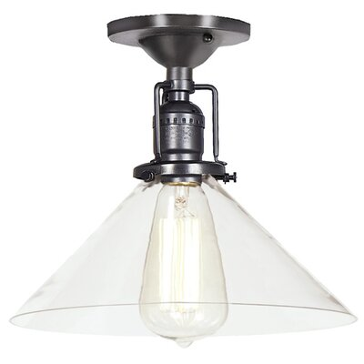 Edgar Modern 1-Light Clear Glass Semi Flush Mount Finish: Gun Metal