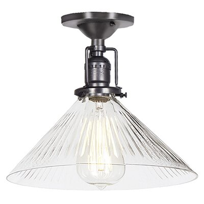 Edgar 1-Light Blown Glass Semi Flush Mount Finish: Gun Metal, Shade Color: Clear