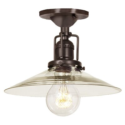 Edgar Modern 1-Light Mouth Blown Glass Semi Flush Mount Finish: Oil Rubbed Bronze