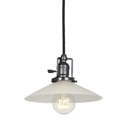 Edgar 1-Light Cone Glass Mini Pendant Finish: Gun Metal