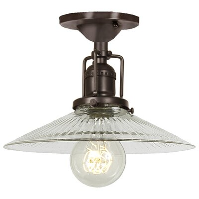 Edgar 1-Light Ribbed Glass Semi Flush Mount Finish: Oil Rubbed Bronze, Shade Color: Clear