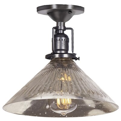 Edgar 1-Light Blown Glass Semi Flush Mount Finish: Gun Metal, Shade Color: Antique Mercury