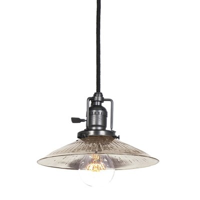 Edgar 1-Light Ribbed Glass Mini Pendant Finish: Gun Metal