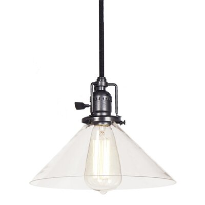 Edgar 1-Light Mouth Blown Glass Mini Pendant Finish: Gun Metal