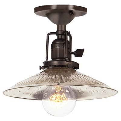 Edgar 1-Light Ribbed Glass Semi Flush Mount Finish: Oil Rubbed Bronze, Shade Color: Antique Mercury