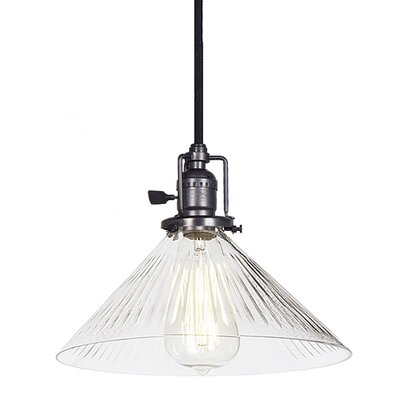 Edgar 1-Light Ribbed Cone Glass Mini Pendant Finish: Gun Metal