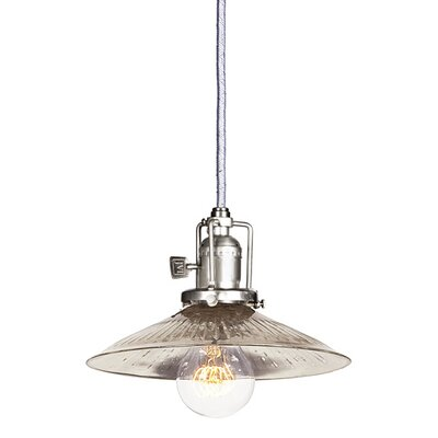 Edgar 1-Light Ribbed Glass Mini Pendant Finish: Pewter