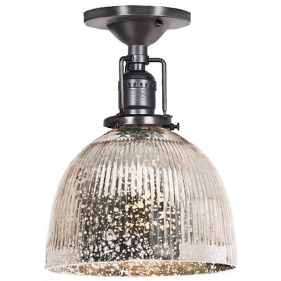 Edgar 1-Light Antique Mercury Glass Semi Flush Mount Finish: Gun Metal