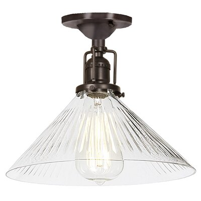 Edgar 1-Light Blown Glass Semi Flush Mount Finish: Oil Rubbed Bronze, Shade Color: Clear