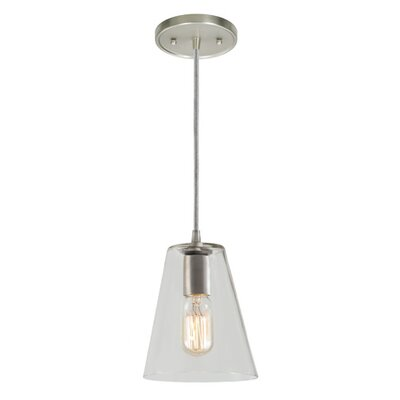 Grand Central 1-Light Mini Pendant Size: 8 H x 6 W, Finish: Pewter