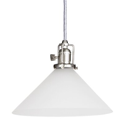 Edgar 1-Light White Cone Glass Mini Pendant Finish: Pewter