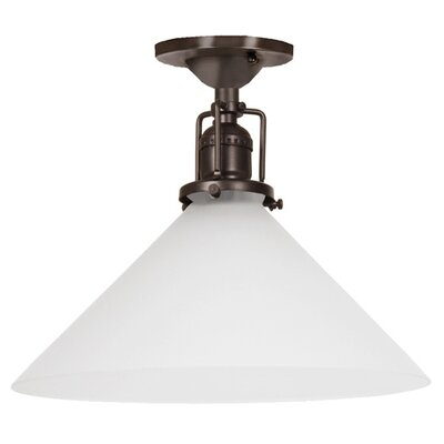 Edgar 1-Light Frosted White Glass Semi Flush Mount Finish: Oil Rubbed Bronze