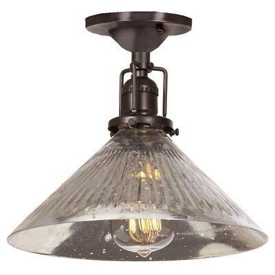 Edgar 1-Light Blown Glass Semi Flush Mount Finish: Oil Rubbed Bronze, Shade Color: Antique Mercury
