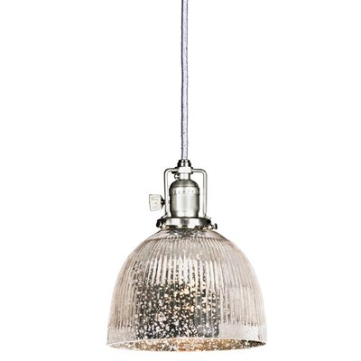 Edgar 1-Light Bowl Glass Mini Pendant Finish: Pewter