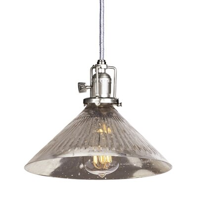 Edgar 1-Light Glass Mini Pendant Finish: Pewter