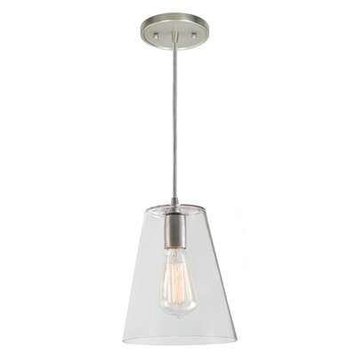 Grand Central 1-Light Mini Pendant Finish: Pewter, Size: 10 H x 7.5 W