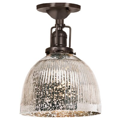 Edgar 1-Light Antique Mercury Glass Semi Flush Mount Finish: Oil Rubbed Bronze