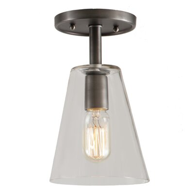 Grand Central 1-Light Semi Flush Mount Finish: Gun Metal, Size: 12 H x 7.5 W