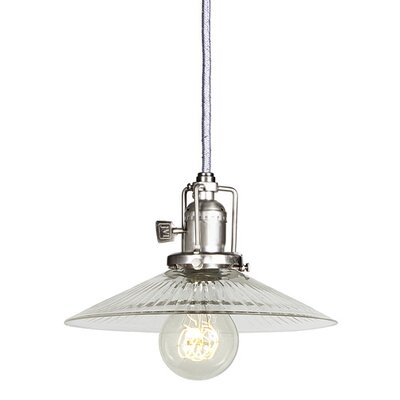 Edgar 1-Light Cone Clear Glass Mini Pendant Finish: Pewter