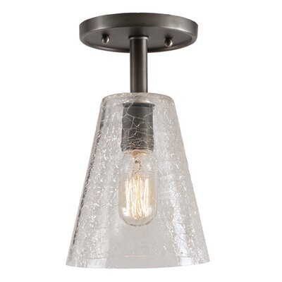 Grand Central 1-Light Semi Flush Mount Size: 12 H x 7.5 W, Finish: Oil Rubbed Bronze