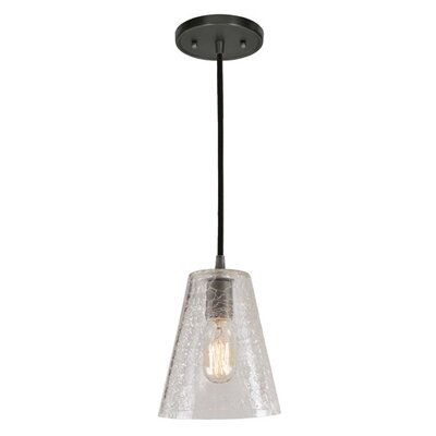 Grand Central 1-Light Mini Pendant Size: 8 H x 6 W, Finish: Gun Metal