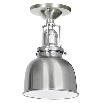 Edgar 1-Light Metal Semi Flush Mount Finish: Pewter