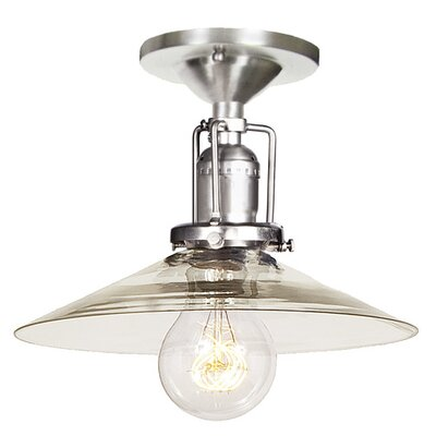 Edgar Modern 1-Light Mouth Blown Glass Semi Flush Mount Finish: Pewter