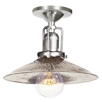 Edgar 1-Light Ribbed Glass Semi Flush Mount Finish: Pewter, Shade Color: Antique Mercury