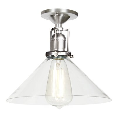 Edgar Modern 1-Light Clear Glass Semi Flush Mount Finish: Pewter