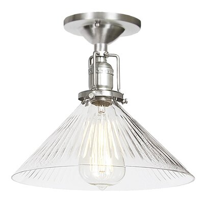 Edgar 1-Light Blown Glass Semi Flush Mount Finish: Pewter, Shade Color: Clear