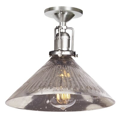 Edgar 1-Light Blown Glass Semi Flush Mount Finish: Pewter, Shade Color: Antique Mercury