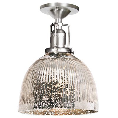 Edgar 1-Light Antique Mercury Glass Semi Flush Mount Finish: Pewter