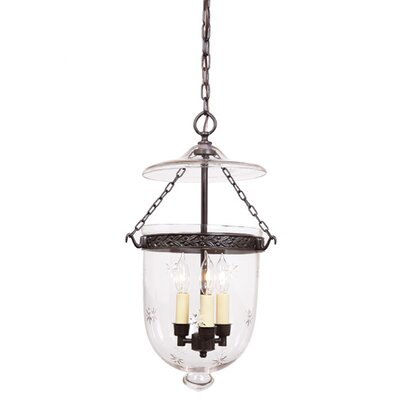 3-Light Medium Bell Jar Foyer Pendant with Star Glass Finish: Rubbed Brass