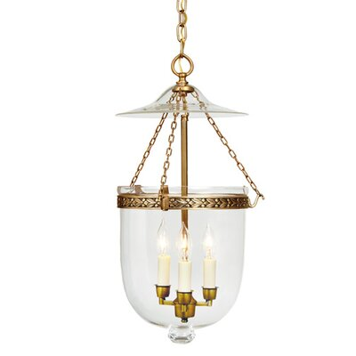 3-Light Medium Bell Jar Foyer Pendant Finish: Pewter
