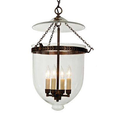 4-Light Extra Large Bell Jar Foyer Pendant Finish: Rubbed Brass