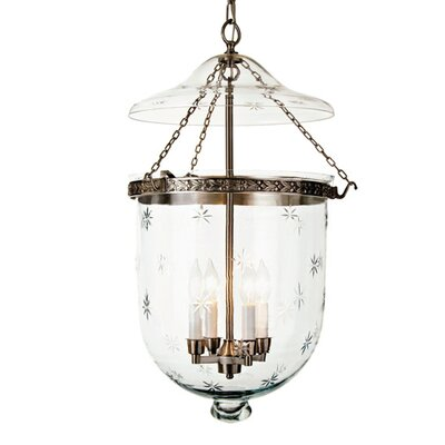 4-Light Extra Large Bell Jar Foyer Pendant with Star Glass Finish: Pewter