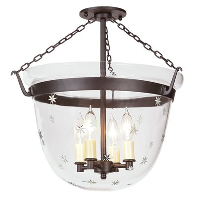 Large Bell 4-Light Foyer Pendant with Star Glass Finish: Oil Rubbed Bronze