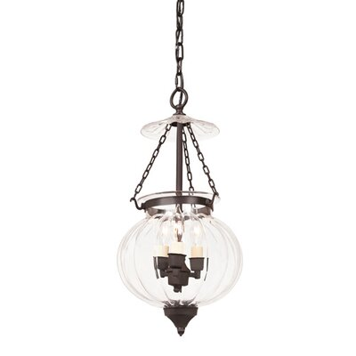 Melon 3-Light Jar Foyer Pendant Size: Medium, Finish: Rubbed brass