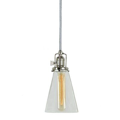Edgar 1-Light Blown Glass Mini Pendant Finish: Polished Nickel