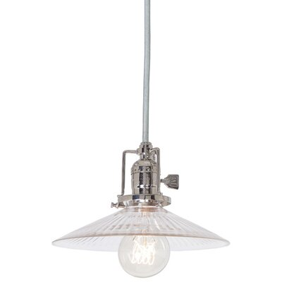 Edgar 1-Light Cone Clear Glass Mini Pendant Finish: Polished Nickel
