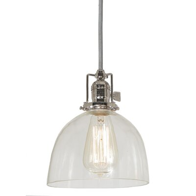 Edgar Contemporary 1-Light Bowl Glass Mini Pendant Finish: Polished Nickel