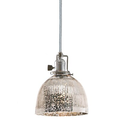 Edgar 1-Light Bowl Glass Mini Pendant Finish: Polished Nickel