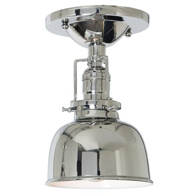 Edgar 1-Light Metal Semi Flush Mount Finish: Polished Nickel