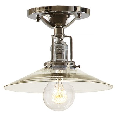 Edgar Modern 1-Light Mouth Blown Glass Semi Flush Mount Finish: Polished Nickel