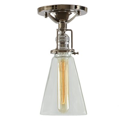 Edgar 1-Light Clear Glass Semi Flush Mount Finish: Polished Nickel