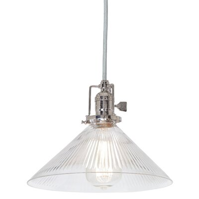 Edgar 1-Light Ribbed Cone Glass Mini Pendant Finish: Polished Nickel
