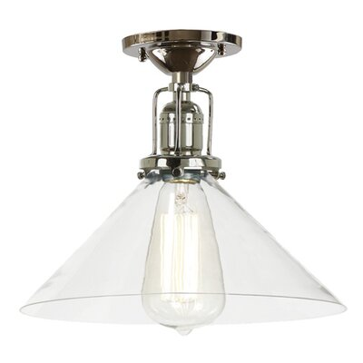 Edgar Modern 1-Light Clear Glass Semi Flush Mount Finish: Polished Nickel
