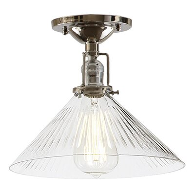 Edgar 1-Light Blown Glass Semi Flush Mount Shade Color: Clear, Finish: Polished Nickel