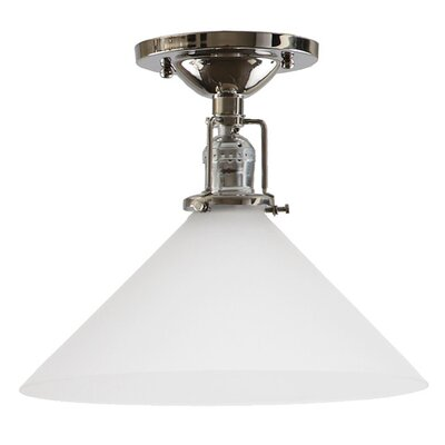 Edgar 1-Light Frosted White Glass Semi Flush Mount Finish: Polished Nickel
