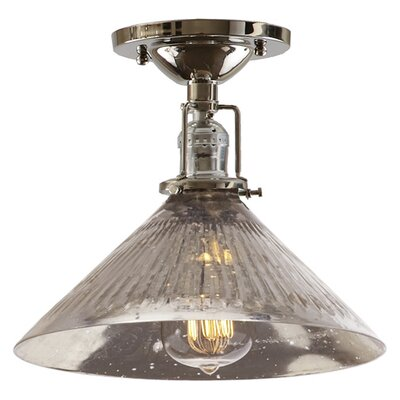 Edgar 1-Light Blown Glass Semi Flush Mount Shade Color: Antique Mercury, Finish: Polished Nickel